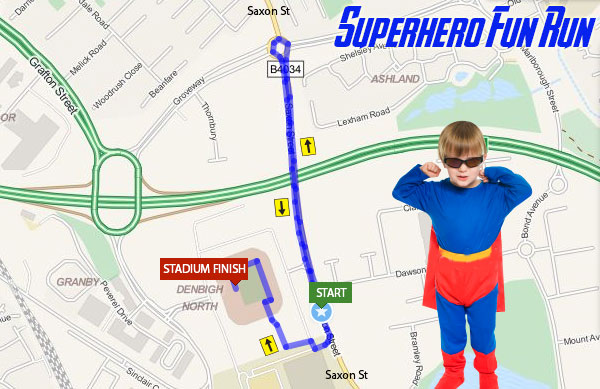 Superhero Fun Run, Milton Keynes Map 2015
