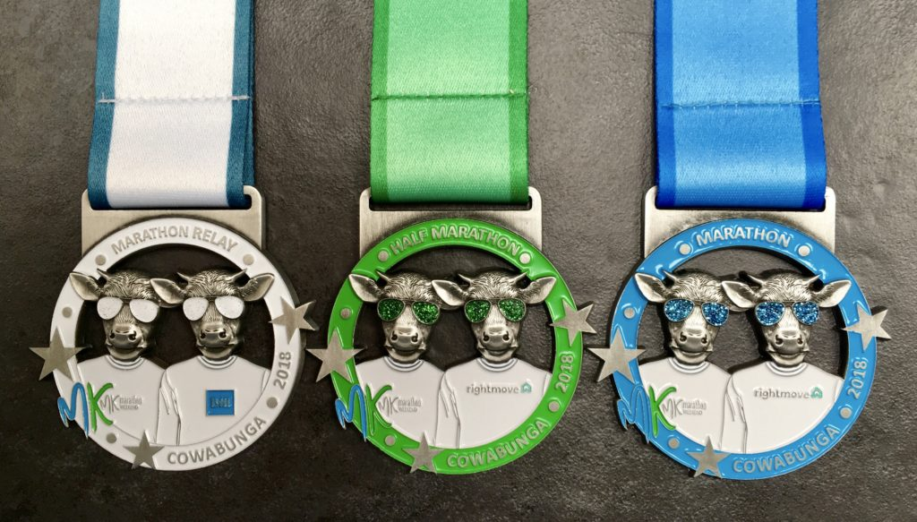 The MK Marathon, Half Marathon and Marathon Relay medals 2018