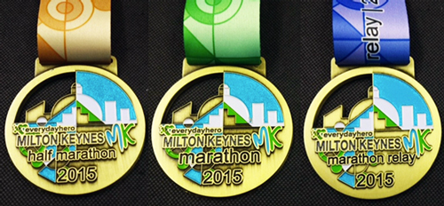 The MK Half Marathon, Marathon and Marathon Relay medals 2015