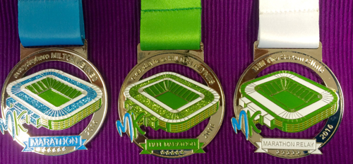 The MK Half Marathon, Marathon and Marathon Relay medals 2016