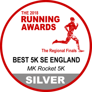Rocket 5k has been awarded a silver badge for SE England in our regional heats for 5K running events