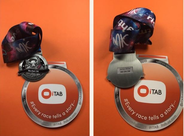 iTab medal insert for your MK Rocket 5k medal