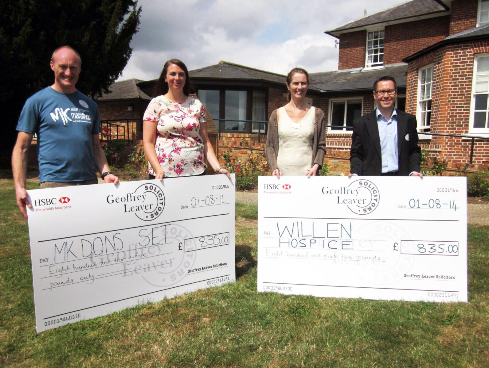 Geoffrey Leaver Marathon Relay charity cheque presentation