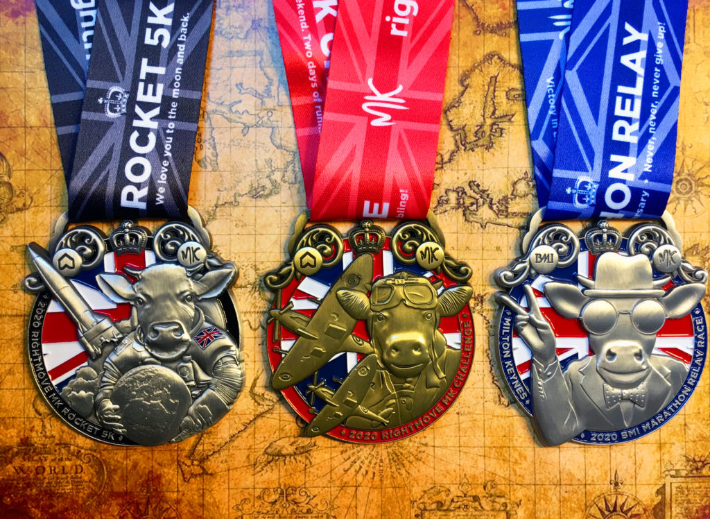 Milton Keynes Marathon Weekend 2nd-3rd May 2020. One weekend. Two days of running. Three times the bling!