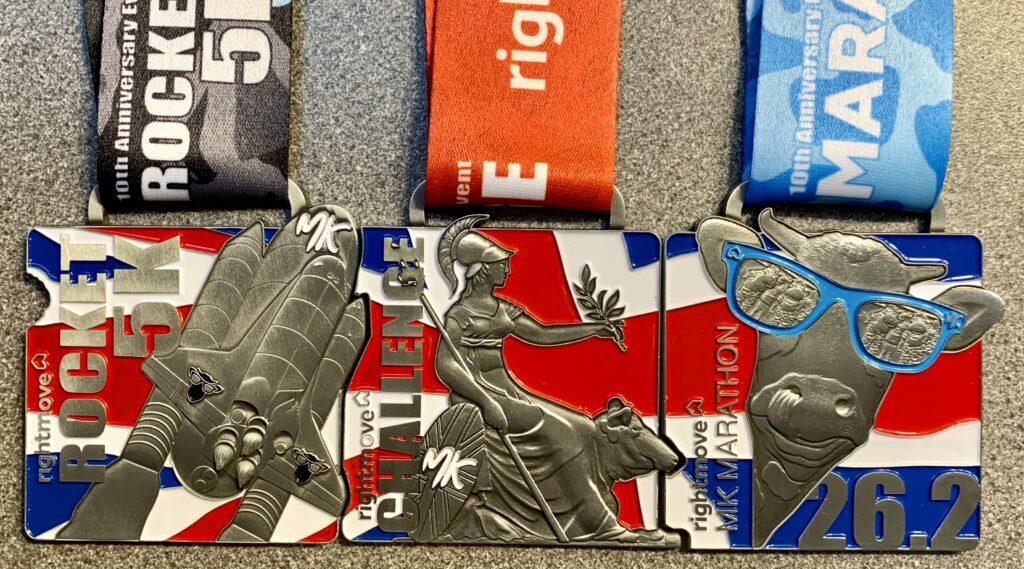 The MK Rocket 5k, MK Challenge and MK Marathon Medals 2021